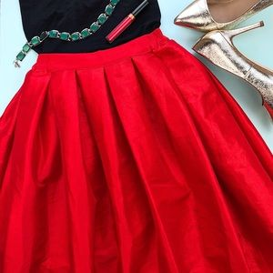 Chicwish Red Pleated Formal Midi Skirt